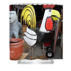 Metal Rooster And Donkey Shower Curtain by Donna Wilson