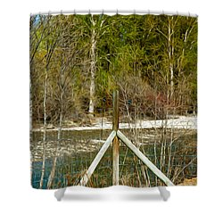 Methow River Springtime Shower Curtain by Omaste Witkowski
