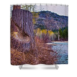 Methow Riverbank Shower Curtain by Omaste Witkowski