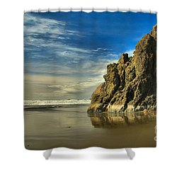 Meyers Beach Stacks Shower Curtain by Adam Jewell