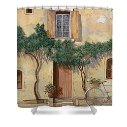 Mezza Bicicletta Sul Muro Shower Curtain by Guido Borelli
