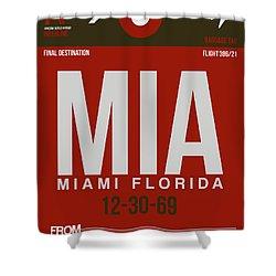 Mia Miami Airport Poster 4 Shower Curtain by Naxart Studio