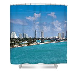 Miami Beach Skyline Shower Curtain by Rene Triay Photography
