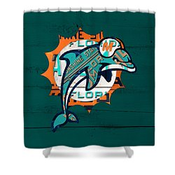 Miami Dolphins Football Team Retro Logo Florida License Plate Art Shower Curtain by Design Turnpike