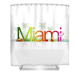 Miami- Florida Shower Curtain by Aged Pixel