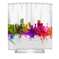 Miami Florida Skyline Shower Curtain by Aged Pixel