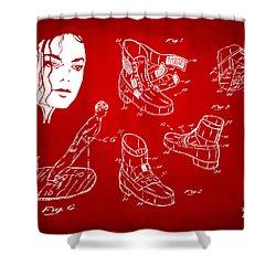 Michael Jackson Anti-gravity Shoe Patent Artwork Red Shower Curtain by Nikki Marie Smith