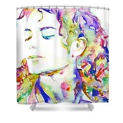 Michael Jackson - Watercolor Portrait.6 Shower Curtain by Fabrizio Cassetta