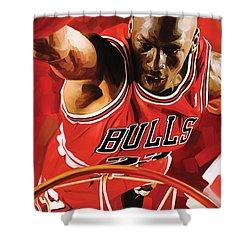 Michael Jordan Artwork 3 Shower Curtain by Sheraz A