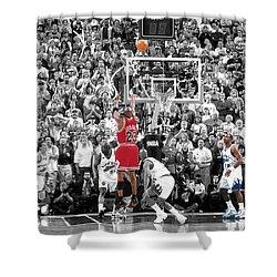 Michael Jordan Buzzer Beater Shower Curtain by Brian Reaves