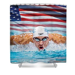 Michael Phelps Artwork Shower Curtain by Sheraz A