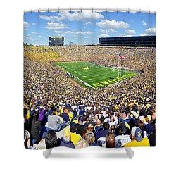 Michigan Stadium - Wolverines Shower Curtain by Georgia Fowler