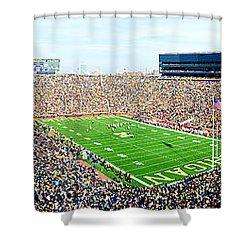 Michigan Stadium Shower Curtain by Georgia Fowler