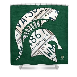 Michigan State Spartans Sports Retro Logo License Plate Fan Art Shower Curtain by Design Turnpike