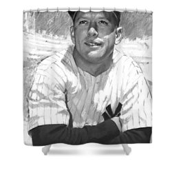 Mickey Mantle Shower Curtain by Viola El