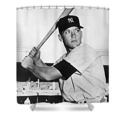 Mickey Mantle At-bat Shower Curtain by Gianfranco Weiss