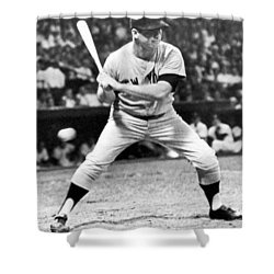 Mickey Mantle At Bat Shower Curtain by Underwood Archives