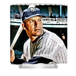 Mickey Mantle Shower Curtain by Florian Rodarte