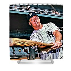 Mickey Mantle Painting Shower Curtain by Florian Rodarte