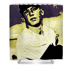 Mickey Mantle Poster Art Shower Curtain by Florian Rodarte