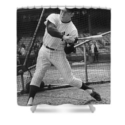 Mickey Mantle Poster Shower Curtain by Gianfranco Weiss