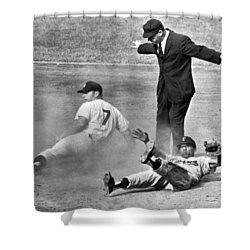 Mickey Mantle Steals Second Shower Curtain by Underwood Archives