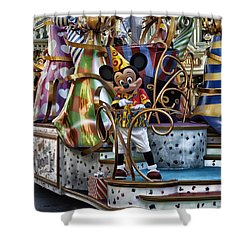 Mickey Mouse On His Celebrate It Float Shower Curtain by Thomas Woolworth