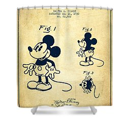 Mickey Mouse Patent Drawing From 1930 - Vintage Shower Curtain by Aged Pixel