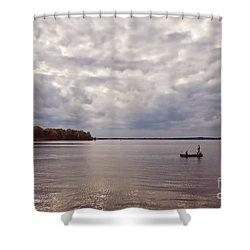 Mid Lake Storm Shower Curtain by Scott Pellegrin