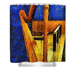 Midnight Harp Shower Curtain by RC DeWinter