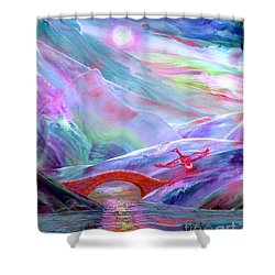 Midnight Silence, Flying Goose Shower Curtain by Jane Small