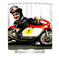 Mike The Bike  Mike Hailwood Shower Curtain by Iconic Images Art Gallery David Pucciarelli