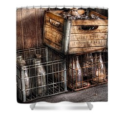 Milkman - Bottles In Boxes Shower Curtain by Mike Savad
