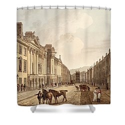 Milsom Street, From Bath Illustrated Shower Curtain by John Claude Nattes