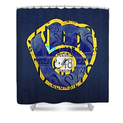 Milwaukee Brewers Vintage Baseball Team Logo Recycled Wisconsin License Plate Art Shower Curtain by Design Turnpike