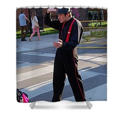 Mime Performer On The Street Shower Curtain by Lingfai Leung