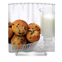 Mini Chocolate Chip Muffins And Milk - Bakery - Snack - Dairy - 1 Shower Curtain by Andee Design