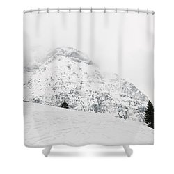 Minimalist Snow Landscape - Mountain And Trees In Winter Shower Curtain by Matthias Hauser