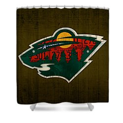Minnesota Wild Retro Hockey Team Logo Recycled Land Of 10000 Lakes License Plate Art Shower Curtain by Design Turnpike