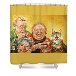 Miriam's Tea Party Shower Curtain by Shelly Wilkerson