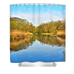 Mirror Canal Shower Curtain by Frozen in Time Fine Art Photography
