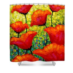 Mischa's Poppies Shower Curtain by John  Nolan