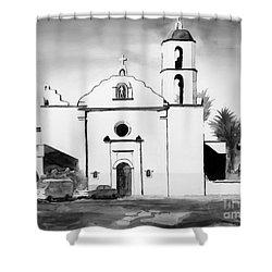 Mission San Luis Rey Bw Blue Shower Curtain by Kip DeVore