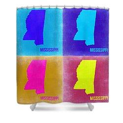 Mississippi Pop Art Map 2 Shower Curtain by Naxart Studio