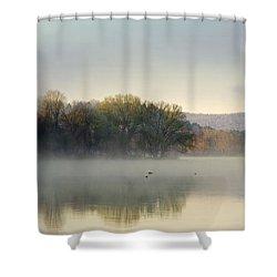 Misty Morning Sunrise Shower Curtain by Christina Rollo