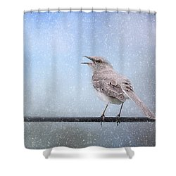 Mockingbird In The Snow Shower Curtain by Jai Johnson