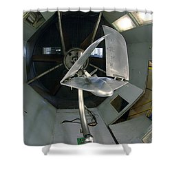 Shower Curtain featuring the photograph Model Airplane In Wind Tunnel by Science Source