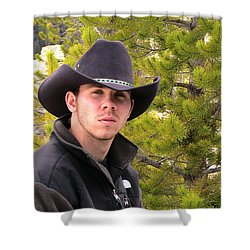 Modern Day Cowboy Shower Curtain by Thomas Woolworth