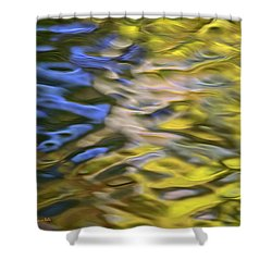 Mojave Gold Mosaic Abstract Art Shower Curtain by Christina Rollo