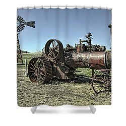 Molson Washington Ghost Town Steam Tractor And Wind Mill Shower Curtain by Daniel Hagerman